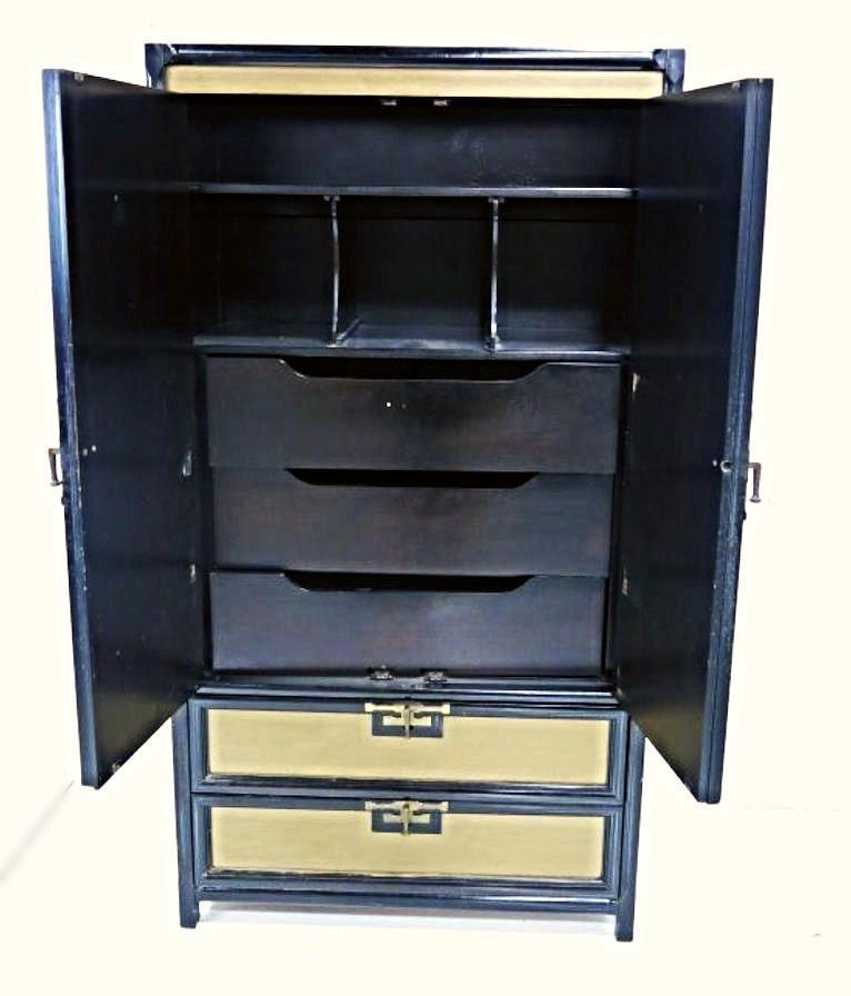 Gold Black Lacquer Armoire   Image 4 Of 11