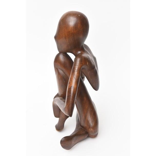 Figurative Vintage Mid-Century Modern Wood Seated Figure Sculpture For Sale - Image 3 of 11