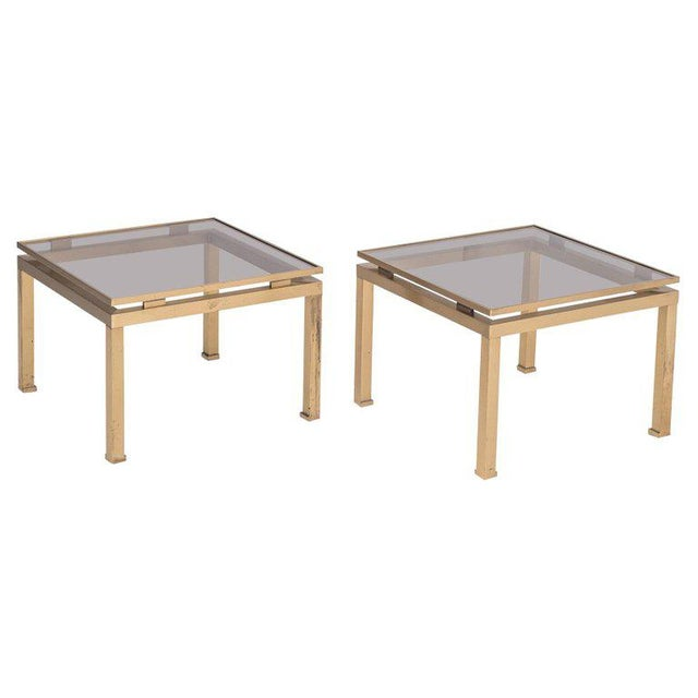 Guy Lefevre Side Tables in Brass and Smoked Glass for Maison Jansen For Sale - Image 10 of 10