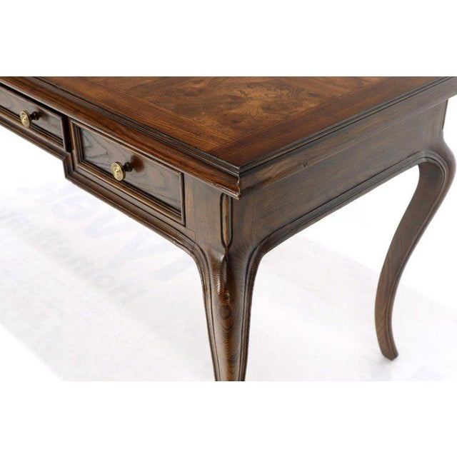 Henredon Cabriole Leg 3-Drawer Burl Wood Writing Table Desk Console For Sale - Image 10 of 13