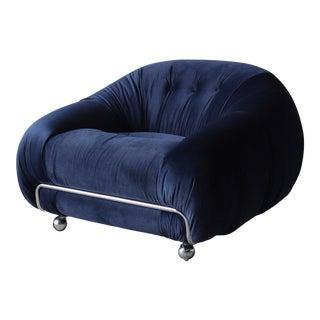Mid Century 70s Italian Velvet & Chrome Chair For Sale