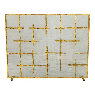 Brutalist Mid Century Wrought Iron and Brass Finish Fireplace Screen For Sale
