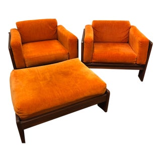 Pair of Mod Pearsall Style Orange Cube Chairs with Ottoman For Sale