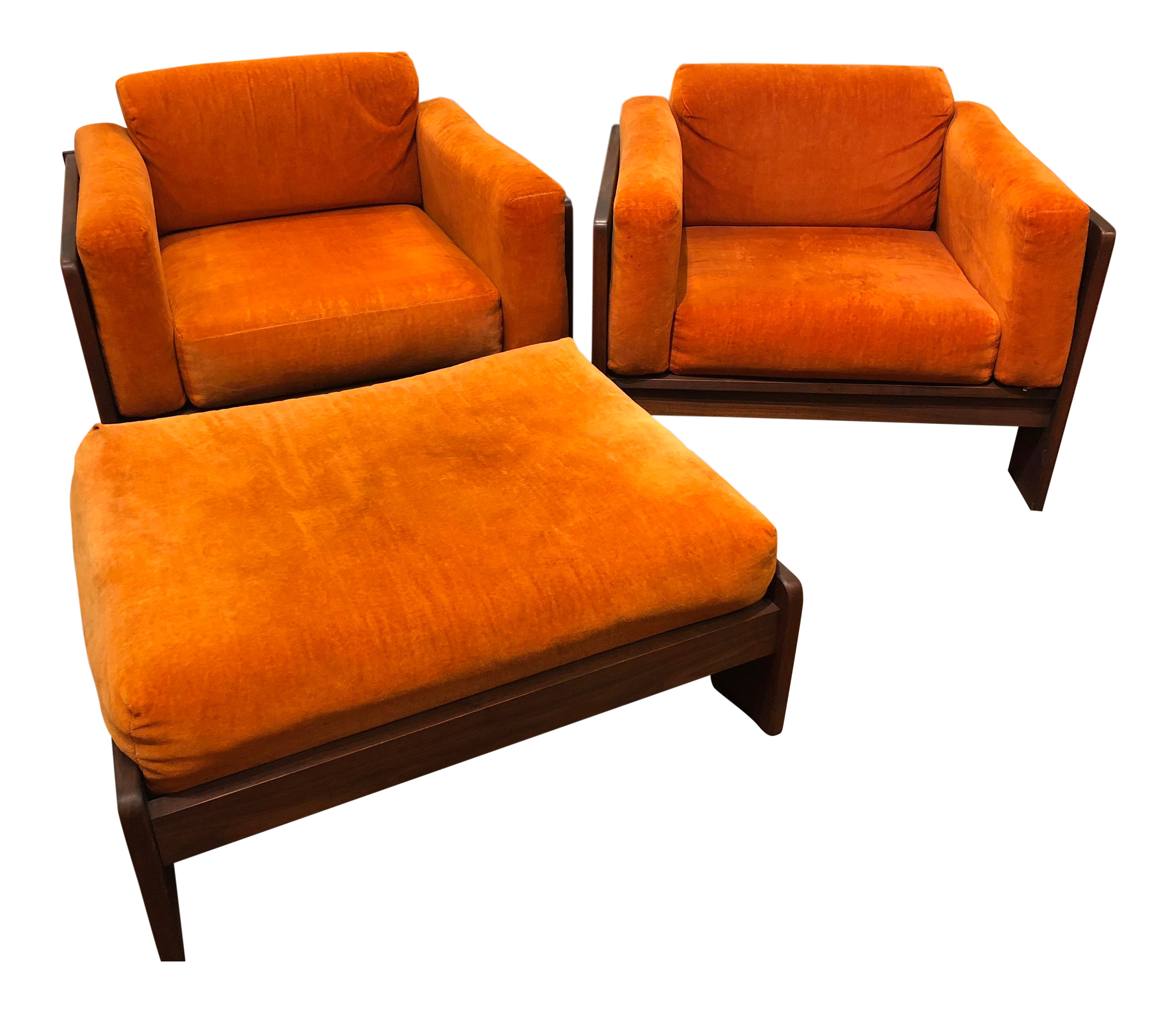 Pair Of Mod Pearsall Style Orange Cube Chairs With Ottoman