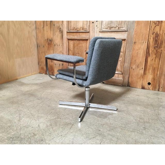Mid-Century Modern Fortress Blue Upholstered Chrome Swivel Desk Chair - Image 5 of 10