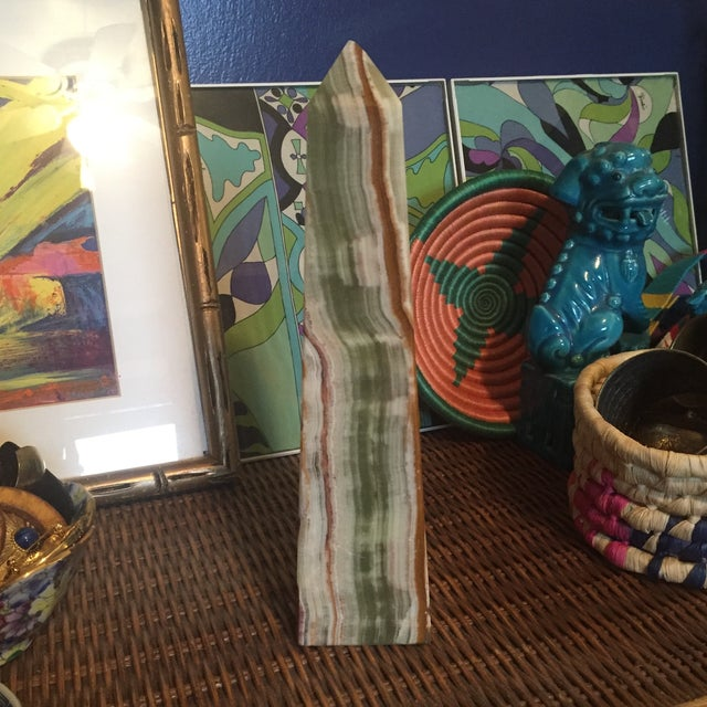Mid Century Onyx Stone Obelisk For Sale In Charlotte - Image 6 of 10