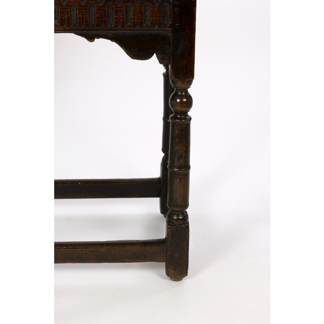 Wood 17th Century Joined Oak Side Table, Box Stretchers, Turned Oak Legs, English Circa 1680 For Sale - Image 7 of 10