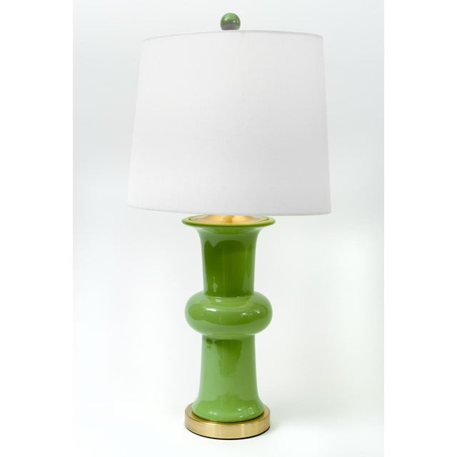 Art Deco Green Porcelain With Gilt Brass Base Table Lamps - a Pair For Sale - Image 3 of 10