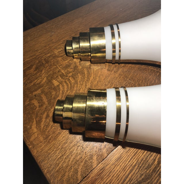 Metal Vintage Art Deco Gold and White Glass Theatre Sconces - a Pair For Sale - Image 7 of 13