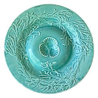 1880s Majolica Aqua Seaweeds Plate Signed Gien For Sale