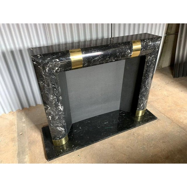 Mid-Century Modern 1980s Brass Marble and Composite Fireplace For Sale - Image 3 of 11