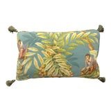 Image of Chinoiserie Monkey Foliage Lumbar Pillow With Tassels For Sale