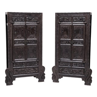 Pair of Chinese Ornate Cabinets With Cabriole Legs For Sale