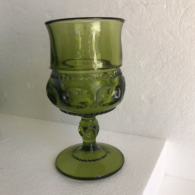 Green Mid-Century Green Goblet Glasses - Set of 7 For Sale - Image 8 of 10