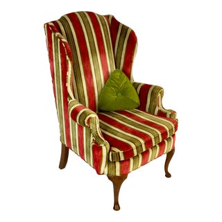 Late 20th Century Vintage Henredon Upholstered Wingback Chair For Sale