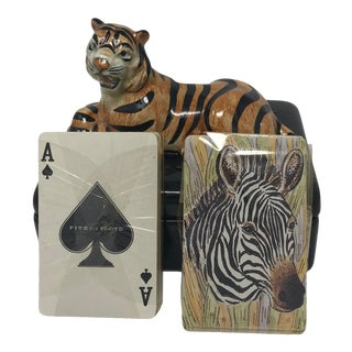 Fitz & Floyd Zebra Playing Card Box & Cards For Sale