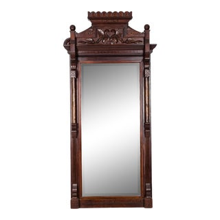 Victorian Carved Mahogany Wood Framed Hanging Wall Mirror For Sale