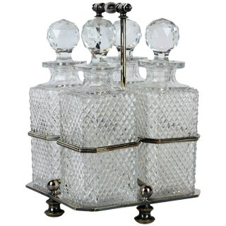 Early 20th Century Georgian Style Sheffield Sp Tantalus Set of 4 Decanters in Carrier - 5 Piece SEt