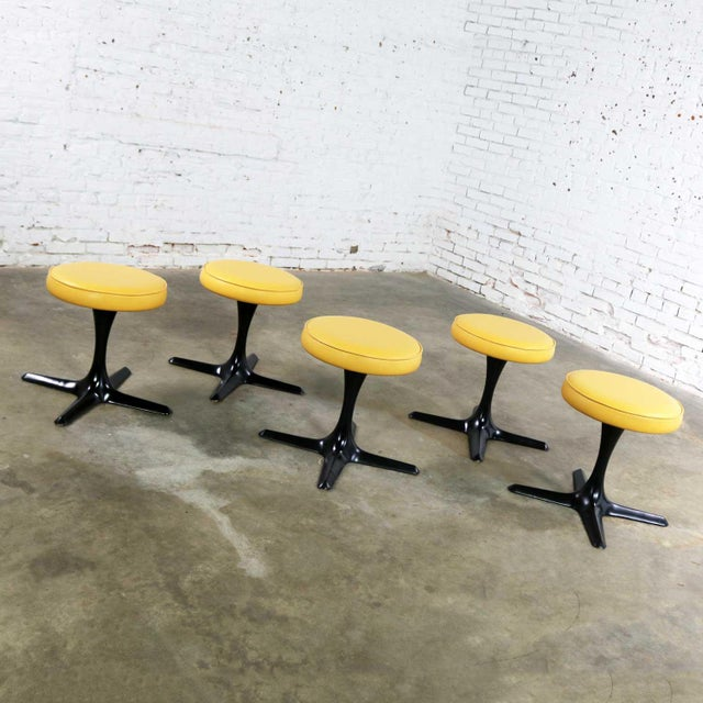 Mid Century Modern Burke Division for Brunswick Tulip Style Swivel Low Stools Set 5 For Sale - Image 6 of 12
