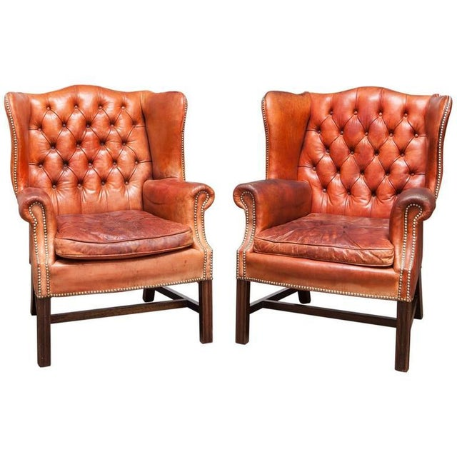 English Cigar Leather Tufted Wing Chairs - Pair - Image 1 of 10