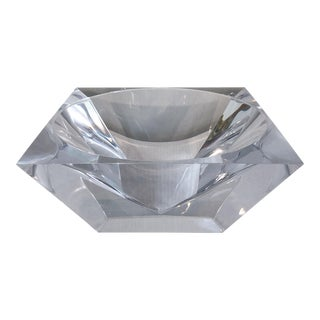 Square Vintage Faceted Lucite Bowl Catchall For Sale