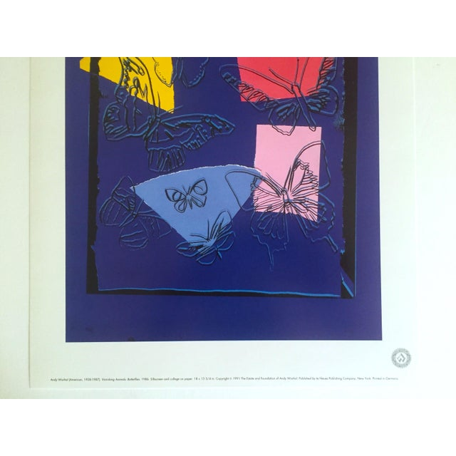 """Boho Chic Andy Warhol Estate Rare Vintage 1991 Collector's Pop Art Lithograph Print """" Butterflies - Vanishing Animals """" 1986 For Sale - Image 3 of 7"""