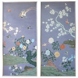 Image of Pair of Hand Painted Chinese Wallpaper Panels For Sale