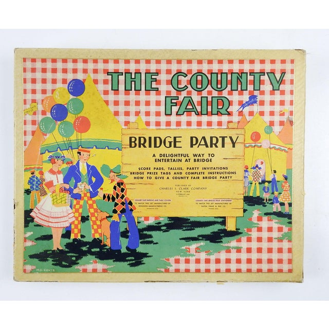 Complete 1930's Bridge Party Set Country Fair For Sale - Image 4 of 4