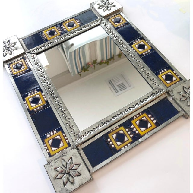 Vintage Mexican Blue and White Handmade Tile Mirror For Sale - Image 9 of 12