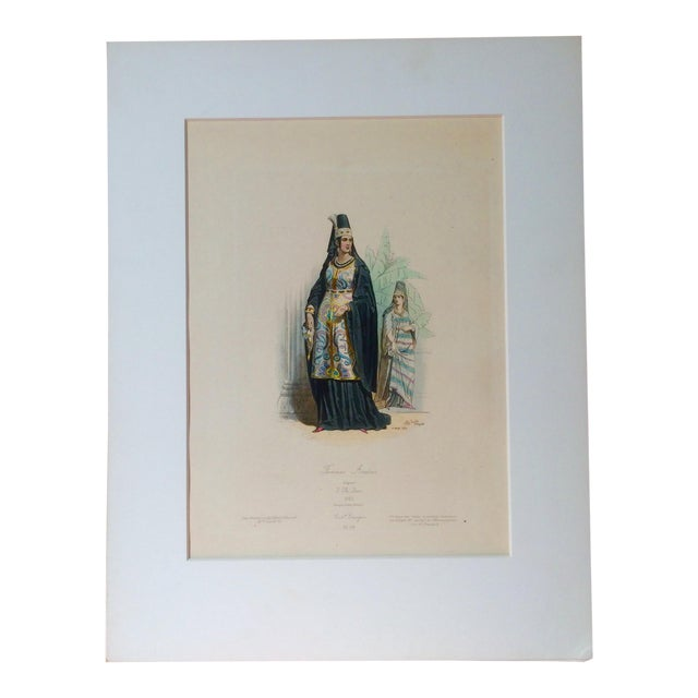"""19th Century Century Antique French Original Engraving Historic Fashion Plate, Hand-Tinted - """"Femmes Arabes."""" For Sale"""