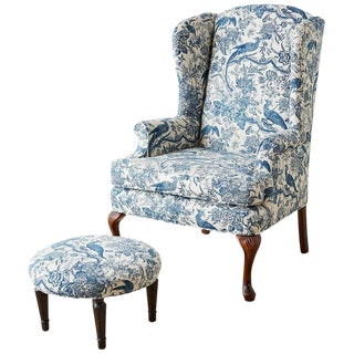 Chinoiserie Upholstered Queen Anne Wingback With Ottoman For Sale