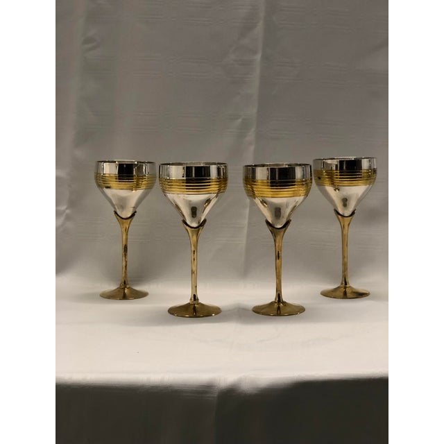Metal Set of Four Chrome and Brass Goblets For Sale - Image 7 of 7