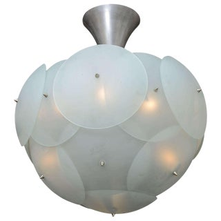 Enormous Italian Globular Glass Chandelier Attributed to Vistosi For Sale