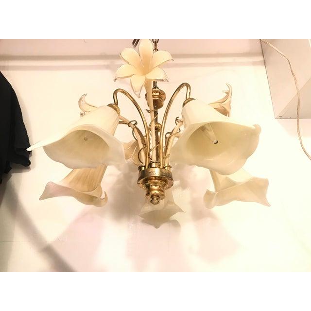 Vintage Mid Century Italy Murano Glass Flower Chandelier For Sale In Philadelphia - Image 6 of 13