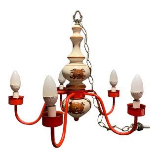 Vintage Porcelain, Glass & Red Brass Floral 5 Light Chandelier For Sale