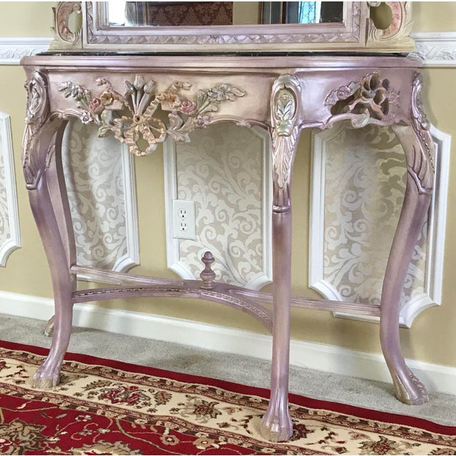 Louis XV Beech Wood Console Table & Mirror For Sale - Image 4 of 8