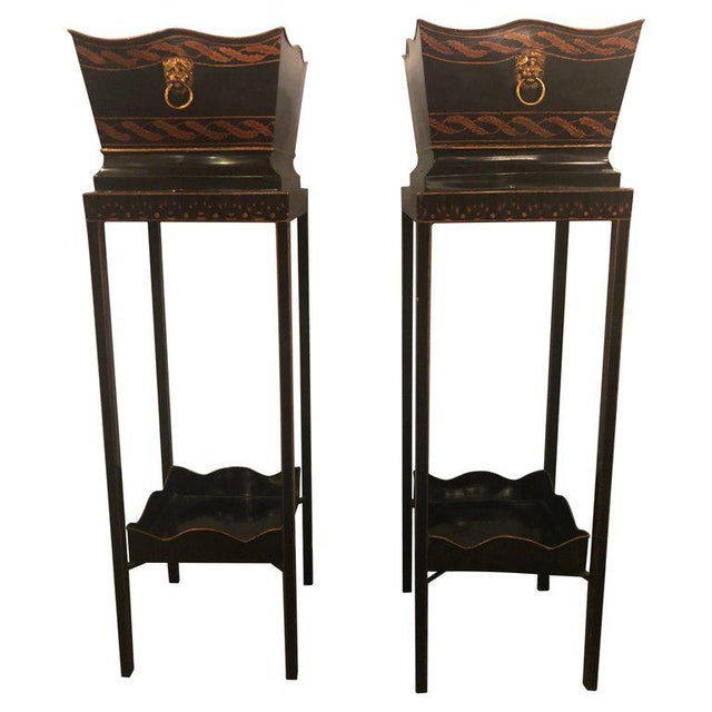 Pair of Georgian Style Tole Jardinières or Planters on Shelved Pedestals For Sale - Image 13 of 13
