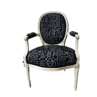 Old French Chair with Black & White Mud Cloth For Sale