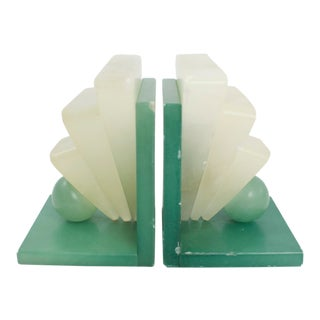 Art Deco Alabaster Bookends For Sale