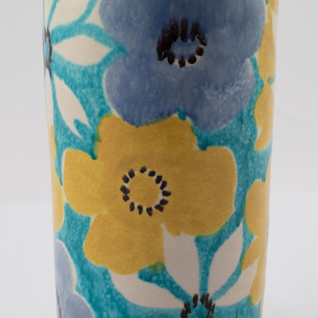 Alvino Bagni for Raymor Aqua Vase With Flowers, Circa 1960s For Sale - Image 9 of 12