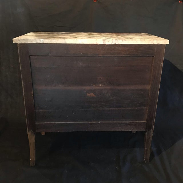 French Antique Marquetry Commode or Chest of Drawers With Marble Top For Sale - Image 12 of 13