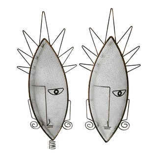 1950s Vintage Frederick Weinberg African Inspired Wire Mesh Masks - A Pair For Sale