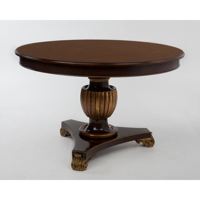 Traditional Italian Center Table Pedestal Base Inlaid Mahogany Burl Gilt Italy 1970s For Sale - Image 3 of 13