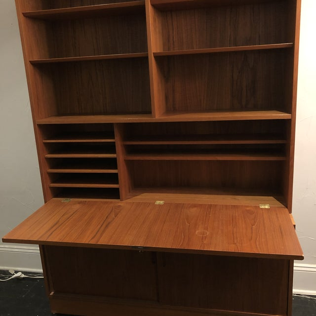 1970s Hundrvad Danish Teak Wall Unit With Drop Down Desk - 2 Pieces For Sale - Image 5 of 13