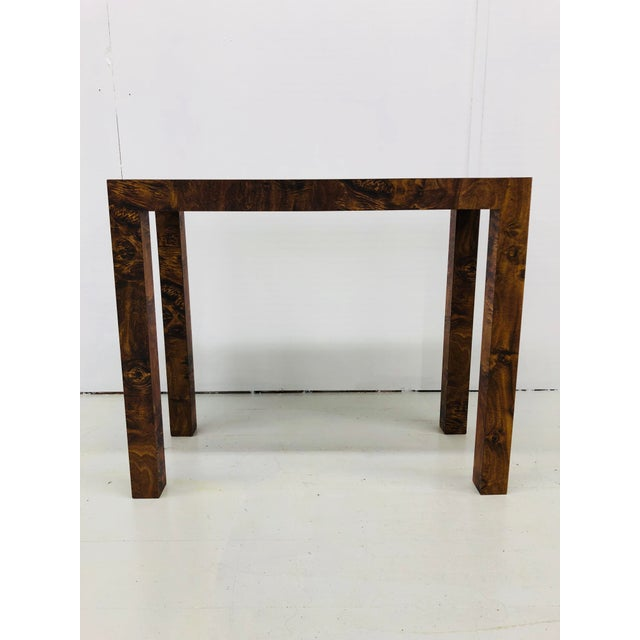 1960s Mid-Century Modern Faux Burled Wood Parsons Console/Sofa Table