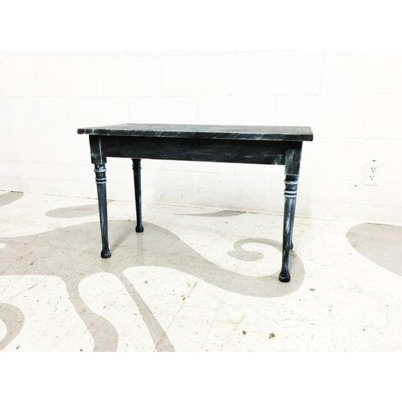 Vintage Turquoise and Black Distressed Bench - Image 4 of 6