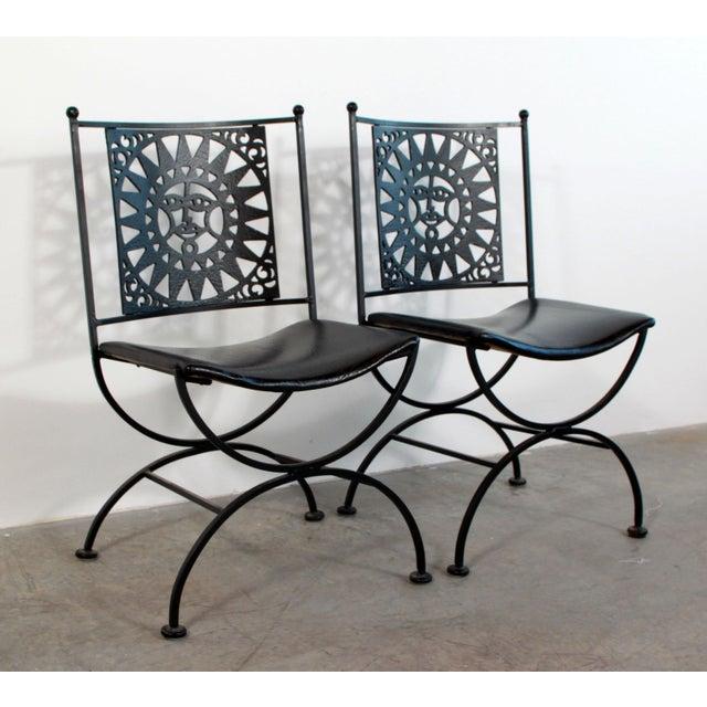 Arthur Umanoff 1950s Mid Century Modern Arthur Umanoff Mayan Sun Cast Iron Chairs - a Pair For Sale - Image 4 of 13