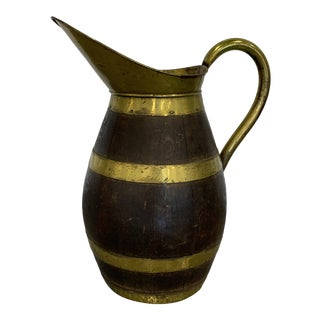 Large Antique Oak and Brass Water Pitcher For Sale