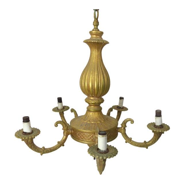 Vintage Gilt Gold Chandelier For Sale