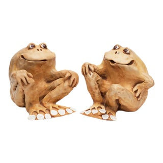 1978 Dave Grossman Signed Large Frog Sculptures/Bookends - a Pair For Sale